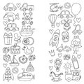 Vector doodle set with toys for shop, store, kindergarten, nursery Hand drawn vector illustration