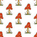 Vector doodle style seamless pattern with forest mushrooms.