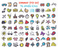 Vector doodle summer trip icons set