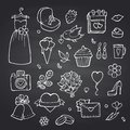 Vector doodle wedding elements set on black chalkboard background illustration