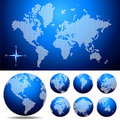 Vector dotted  Map and Globe of the World Royalty Free Stock Photography