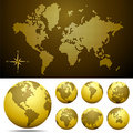 Vector dotted Map and Globe of the World  - Gold Stock Photography