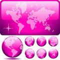 Vector dotted Map and Globe of the World - PINK Royalty Free Stock Photo