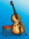 Vector double bass with a bow and stool for musician colour drawing supported on Royalty Free Stock Image