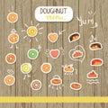 Vector doughnut illustration in cartoon style