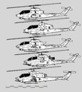 Bell AH-1 Cobra. Vector Drawing Of Attack Helicopter. Image For Illustration And Infographics