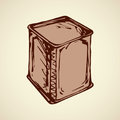 Vector drawing. Box for tea