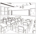 Vector drawing of a class room