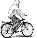 Old man rides a bicycle