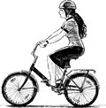 Young woman rides a bicycle