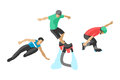 Vector drawing jumping extremesilhouettes illustration life skateboard set speed skydiver skateboarder roller skate Royalty Free Stock Photo