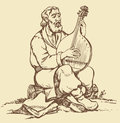 Vector drawing old ukrainian musician plays the b monochrome image handmade style pen on paper with a beard in national dress Stock Image