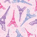 Vector Drawing Pink Eifel Tower Paris Seamless Repeat Pattern Surrounded By St Valentines Day Hearts Of Love. Perfect