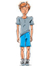 Vector drawing of a red haired caucasian boy cartoon hand drawn cute youngster wearing blue shorts sneakers and t shirt Stock Photography