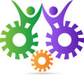 A vector drawing represents friendly gears design Stock Photo