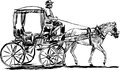 Vector drawing of a tourist horse drawn carriage in the streets of valletta malta Royalty Free Stock Photos