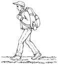 Vector drawing traveler with backpack monochrome line in a cap jacket and jeans a heavy and a bottle of water goes down the path Royalty Free Stock Photo