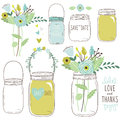Vector drawings of wedding jars and flowers a illustration Stock Photos