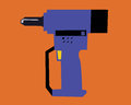 Vector drill drills on an orange background Stock Images