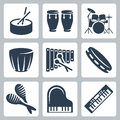 Vector drums and keyboards Royalty Free Stock Photo