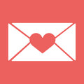 Vector e-mail, envelop icons with heart wax press.For Valentine Day. Royalty Free Stock Photo