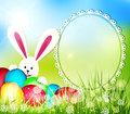 Vector easter background with frame for text rabbit and eggs Stock Photos
