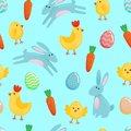 Vector Easter seamless pattern background with cute paper cut colored ornate eggs, cartoon chick and chiken, Easter banny, rabbit Royalty Free Stock Photo