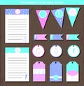 Vector Easter set tag, notes, garland, flag, stiker with bunnies and hearts. Vector illustration for Easter to do list and