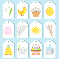 Vector easter tag set. Label collection Royalty Free Stock Photo