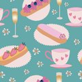Vector of eclair pastry, champagne, and teacups on a green background. Seamless Pattern.