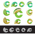Vector eco green letter C logo elements