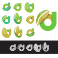 Vector eco green letter D logo elements