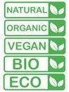 Vector eco,organic,bio logo cards templates. Handwritten healthy eat icons set. Vegan, natural food and drinks signs. Farm market