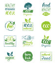 Vector eco,organic,bio logo cards templates. Handwritten healthy eat icons set. Vegan, natural food and drinks signs. Royalty Free Stock Photo