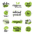 Vector eco, organic, bio logos or signs. Vegan,healthy food badges,tags set for cafe,restaurants,products packaging etc. Royalty Free Stock Photo