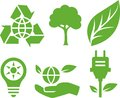 Vector ecological icons green isolated set Stock Image