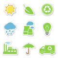 Vector ecology stickers Royalty Free Stock Photo