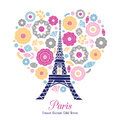 Vector Eifel Tower Paris Bursting With St Valentines Day Pink Red Golden Hearts Of Love.