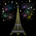 Vector Eiffel tower in Paris Royalty Free Stock Photo