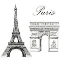 Vector Eiffel Tower and Triumphal Arch Royalty Free Stock Photo