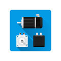 Vector electric motor flat illustration