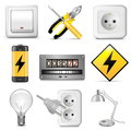 Vector electrical icons on white background Royalty Free Stock Photo