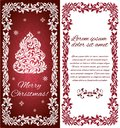 Vector elegant Greeting card with Christmas tree from abstract flower ornament and decorative frame. Royalty Free Stock Photo