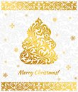 Vector elegant Greeting card with golden Christmas tree from abstract flower ornament. Royalty Free Stock Photo