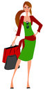 Vector elegant hand drawn style spring shopping girl Royalty Free Stock Photo