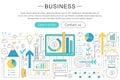 Vector elegant thin line flat modern Art design Business finance discipline concept. Website header banner elements