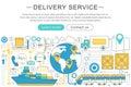 Vector elegant thin line flat modern Art design Delivery cargo transportation logistics service concept.