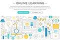 Vector elegant thin line flat modern Art design E-learning online education concept.