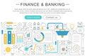 Vector elegant thin line flat modern Art design Finance banking investment concept. Website header banner elements Royalty Free Stock Photo