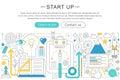 Vector elegant thin line flat modern design Start-up business concept. Website header banner elements layout